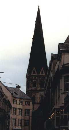 Central Spire of Bonn Basilica at Dusk