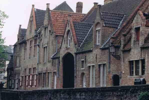 Medieval Canal Side Houses in Bruges