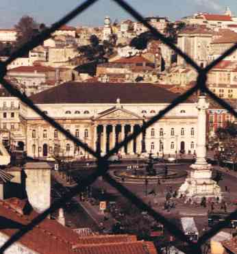 View of Rossio Square from Santa Justa Elevator